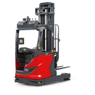 The autonomous R-MATIC reach truck from Linde Material Handling transports and stores and retrieves goods up to 1600kg at lifting heights of up to more than eleven meters.