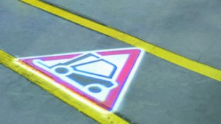 TruckSpot sign on the floor