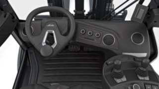 Cockpit of the new forklift truck—off-center steering wheel