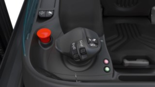 The Multifunction Lever by Linde Material Handling inside the truck