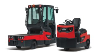 The Linde Material Handling P60 – P80 rider-seated tow tractors and W08 platform trucks