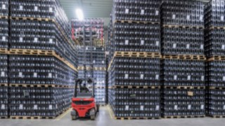 The X35 electric forklift truck from Linde Material Handling in use in the drinks warehouse