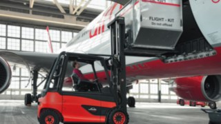 Linde trucks in use at the airport