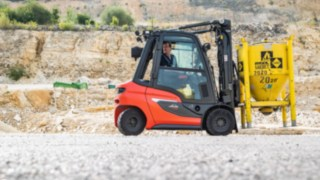 H20 diesel forklift truck in a quarry