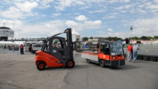 Rental trucks in use during the Formula Student Race