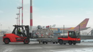 Linde forklift trucks in use at the airport