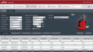 Large volumes of data are managed in the administration area of the connect:desk fleet management software from Linde Material Handling.
