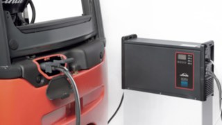 E-truck connected to the Li-ION battery charger