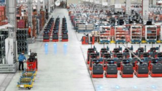 Order picker from Linde Material Handling in a warehouse