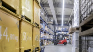 X35 Electric Forklift Truck in the Warehouse at EOT