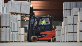 Driver on Linde forklift truck at Egger