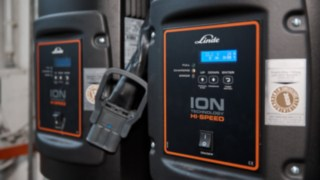 Charging point at Reinheim-based Grass GmbH for Linde Material Handling electric forklift trucks