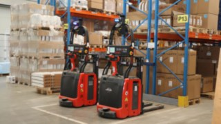 """Linde L-MATIC pallet stackers """"Fredl"""" and """"Gust"""" at Austrian sanitary equipment specialist HOLTER"""