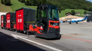 Linde tugger train on the Pilatus site