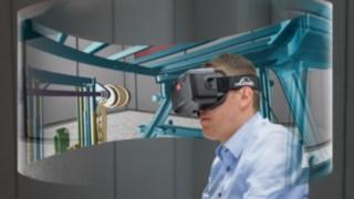 Mit der Datenbrille bewertet der Ingenieur die Sichtverhältnisse aus der Position des Staplerfahrers. Die 3D-Rundumsicht basiert auf den CAD-Daten des Gabelstaplers. So können auch neue Anbauteile wie Hubmasten schon in der Entwicklungsphase getestet werden.
