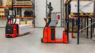 Linde Material Handling automated forklifts with laser guidance technology.