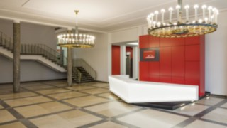 The newly designed foyer