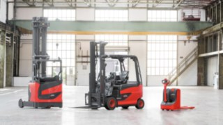 Three product ranges of Linde forklift trucks