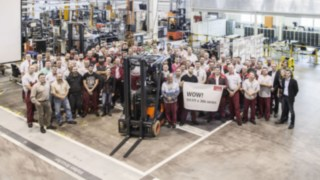 Celebration of the production of the 111,111 E12 - E20 series forklift truck.