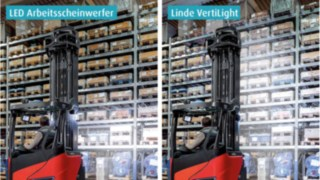 In contrast to regular work lights, the Linde VertiLight does not produce a spotlight cone, but rather a wide-area, uniform and glare-free illumination from the floor to the lifting height.