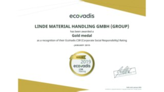 Linde Material Handling was awarded a gold medal by EcoVadis for its current CSR rating.