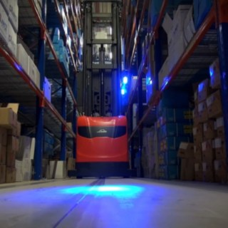 The Linde Material Handling warehouse navigation system in use in the high rack warehouse