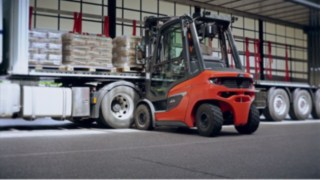 The new diesel and gas forklift H20 - H35 in use for loading trucks