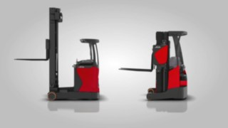 The animation shows the shorter horizontal displacement in the R14 – R17 X reach trucks compared to the mast movements in conventional reach trucks.