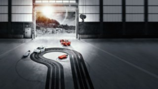 Slot car race track in a warehouse