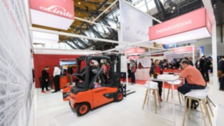 The Linde Material Handling exhibition stand at LogiMAT 2019