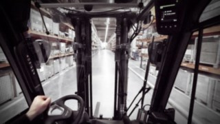 View from a Linde electric forklift truck