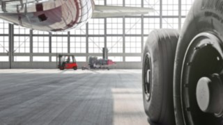 Linde forklift trucks in the aircraft hangers